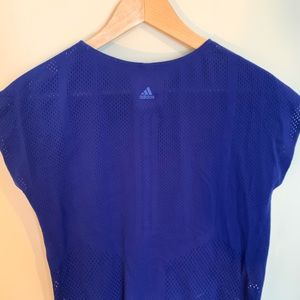 Cropped blue Adidas workout top